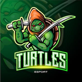 電子スポーツゲームロゴのタートルマスコットロゴ