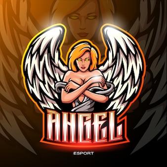 ゲームのロゴの天使のマスコット。