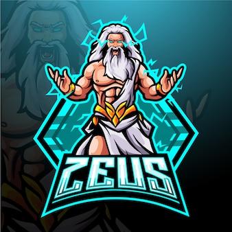 Зевс талисман киберспорт дизайн логотипа