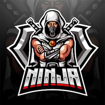 電子スポーツゲームのロゴのサイバー忍者マスコットロゴ