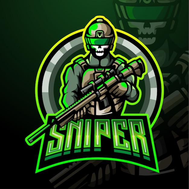 電子スポーツゲームのロゴの狙撃マスコットロゴ