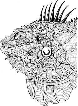 イグアナの手描きの頭