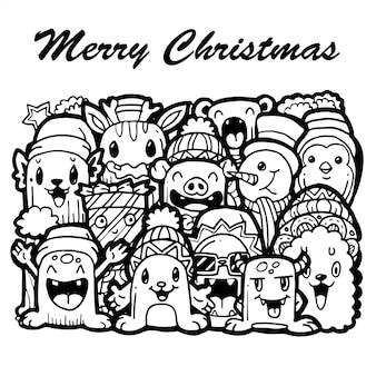 クリスマス手描きの孤立した白い背景を落書き。