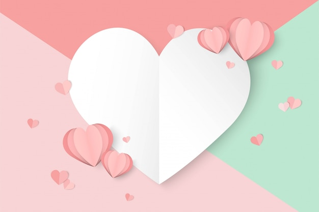 День святого валентина розовый фон с формой сердца
