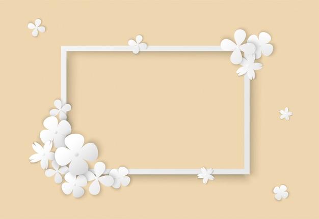 Белые цветы с квадратной рамкой