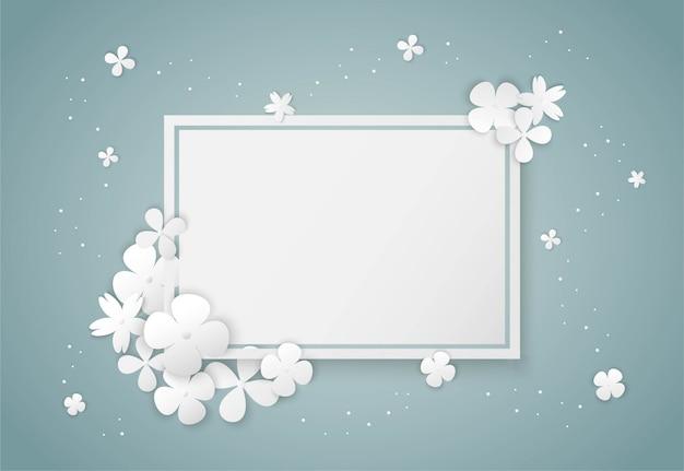 Белые цветы бумага арт и квадратная рамка