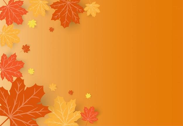 オレンジ色のカエデの紅葉と幸せな感謝祭のお祝いカード