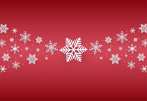 クリスマスと新年あけましておめでとうございます雪の結晶と赤のベクトルの背景
