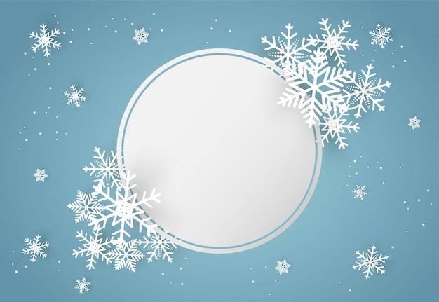 クリスマスと新年あけましておめでとうございます青い背景に雪の結晶