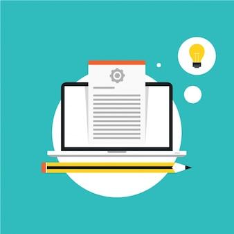 文書や電球とノートパソコン