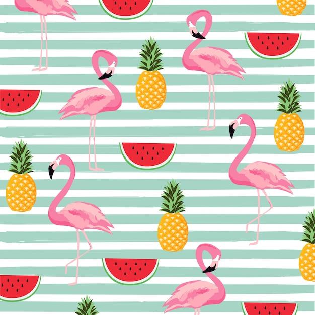 ストライプのシームレスなパターンの背景とパイナップル、スイカとフラミンゴ