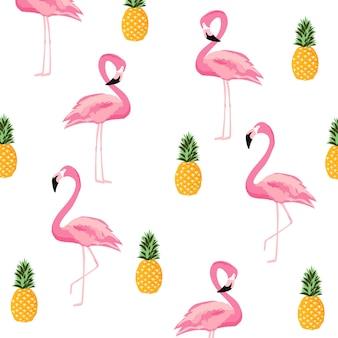 パイナップルとフラミンゴは、シームレスなパターンの背景を分離。かわいいポスターデザイン