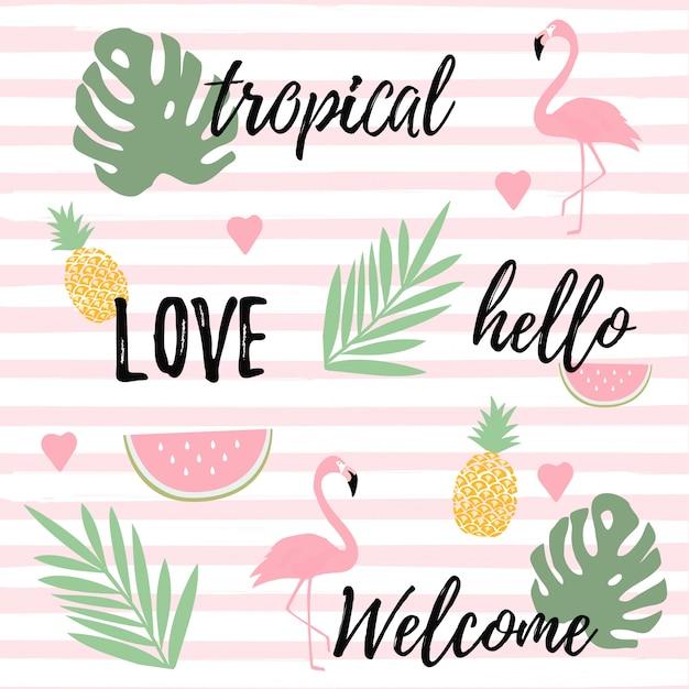 フラミンゴ、スイカ、パイナップルのトロピカルな背景