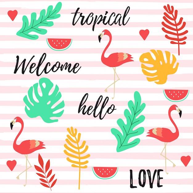 フラミンゴとトロピカルな背景