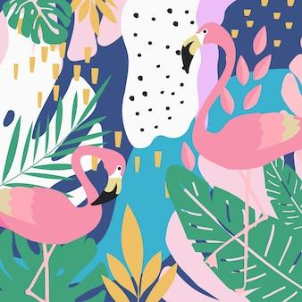 Тропический фон из джунглей с фламинго
