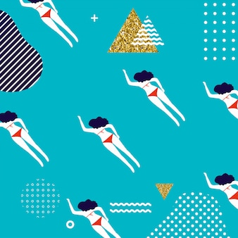 女性の泳いで夏のパターン