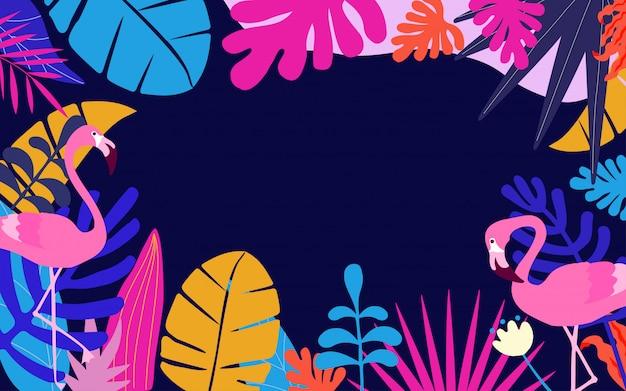 トロピカルジャングルは、フラミンゴとポスターの背景を残す