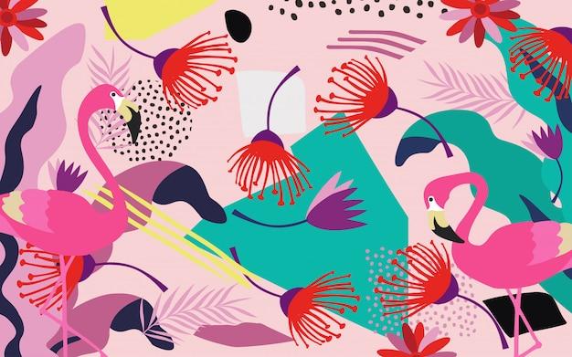 Тропические листья джунглей с фламинго