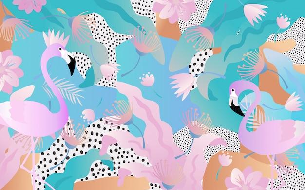 フラミンゴと熱帯の葉と花の背景