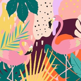 熱帯のジャングルの葉のフラミンゴとポスターの背景