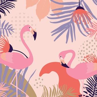 Тропические листья с фоном фламинго