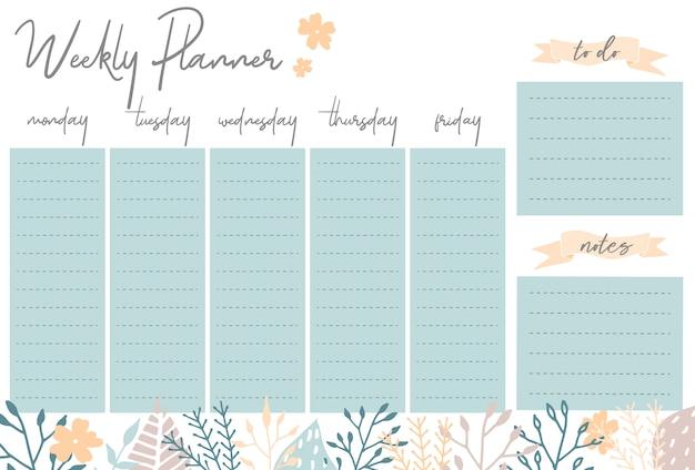 毎週のプランナー、毎日の計画のためのステーショナリーオーガナイザー、花のベクトルウィークリープランナーのテンプレート、スケジュール