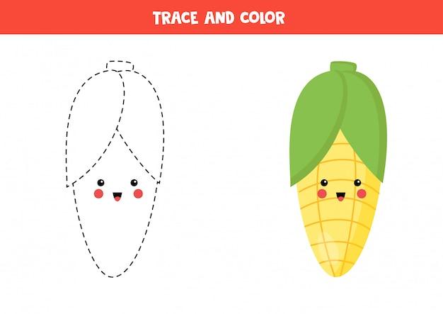 След и цвет милой каваи кукурузы. раскраска для детей.