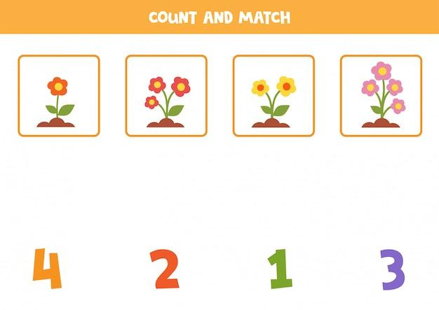 子供のための数学のワークシート。かわいい漫画の色とりどりの花でゲームを数えます。