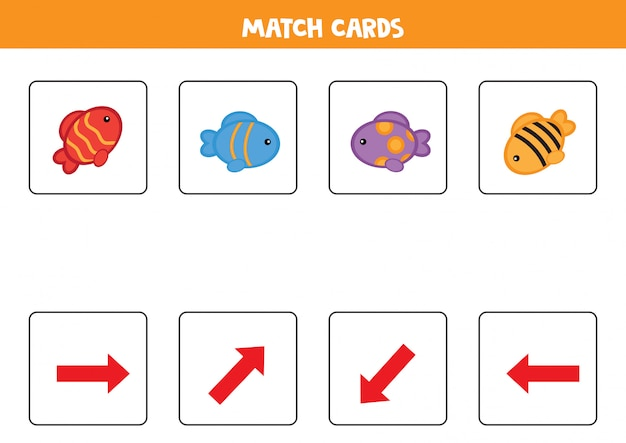 マッチカード。魚セット。子供向けの空間的オリエンテーション。