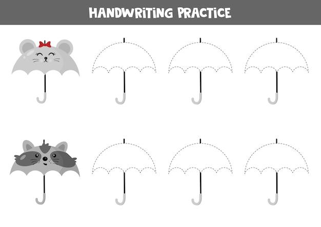 就学前の子供のための教育用ワークシート。手書きの練習。傘をトレースします。