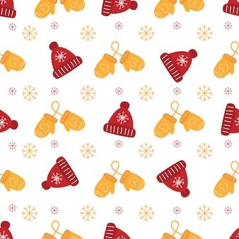 Рождество бесшовный образец с рукавицами и зимней кепкой.