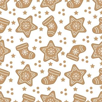 ジンジャーブレッドクッキーとかわいいクリスマスのシームレスパターン。