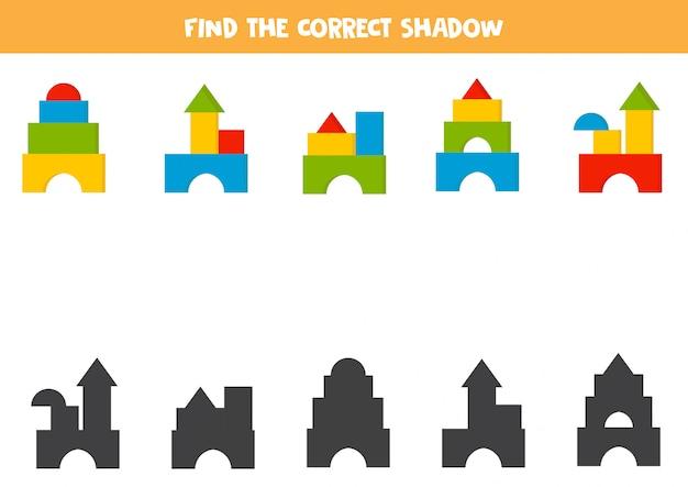 幼稚な塔の正しい影を見つけます。
