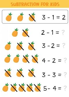 Вычитание для детей с ананасами.