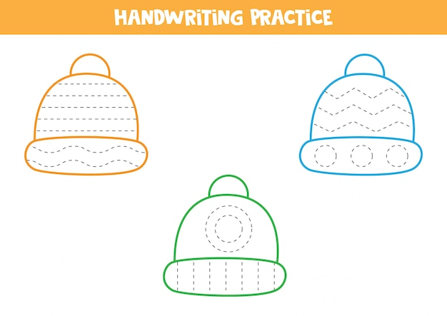 Практика рукописного ввода с красочными зимними шапками.
