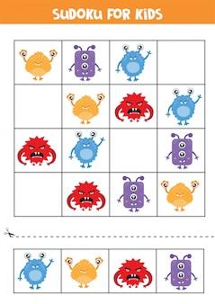 子供向けの数独。かわいいカラフルなモンスターカード。