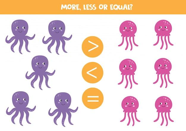 Больше, меньше или равно с милыми мультиками морских животных. сравните количество осьминога и медузы.