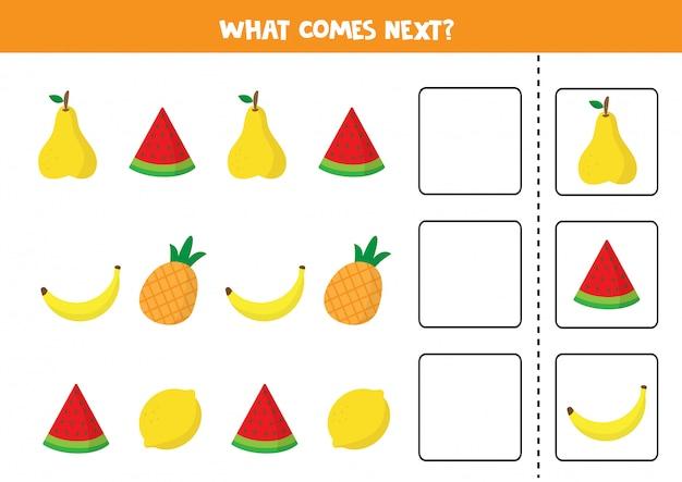 次は何が来るのか。子供向けのシーケンスゲーム。カラフルな果物のセット。
