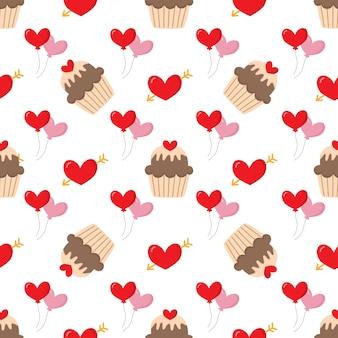 心とカップケーキのかわいい素敵なシームレスパターン。