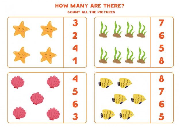 Подсчет игры для детей. подсчитайте количество морских обитателей.