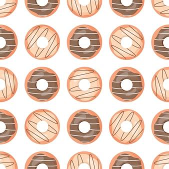 漫画チョコレートドーナツとかわいいのシームレスパターン。