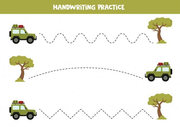 Трассировка линий с подсобным автомобилем и сафари-деревом. игра для детей.