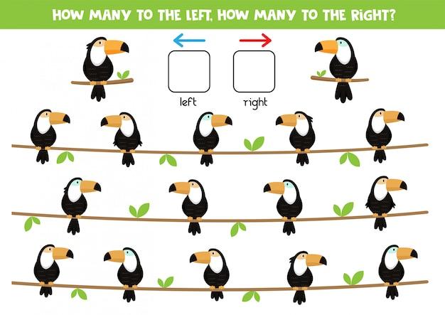 Пространственная ориентация для детей. лево и право. симпатичные картонные туканы.