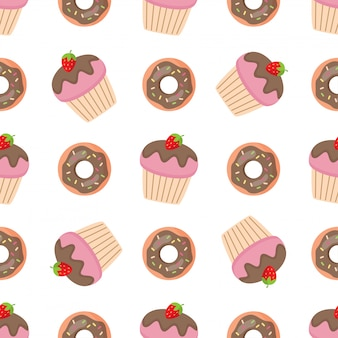 ピンクの甘いドーナツとマフィンとのシームレスなパターン。