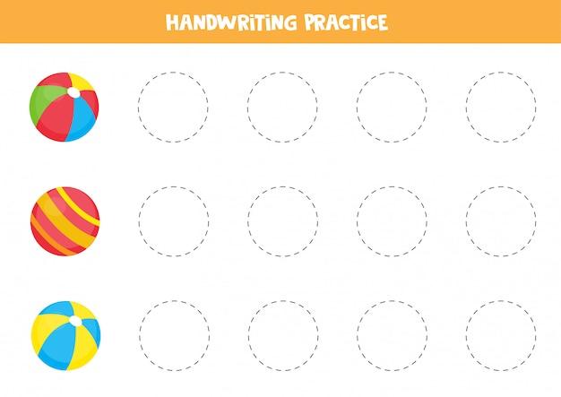 Проследите очертания разноцветных игрушечных шариков. учебный лист для детей.