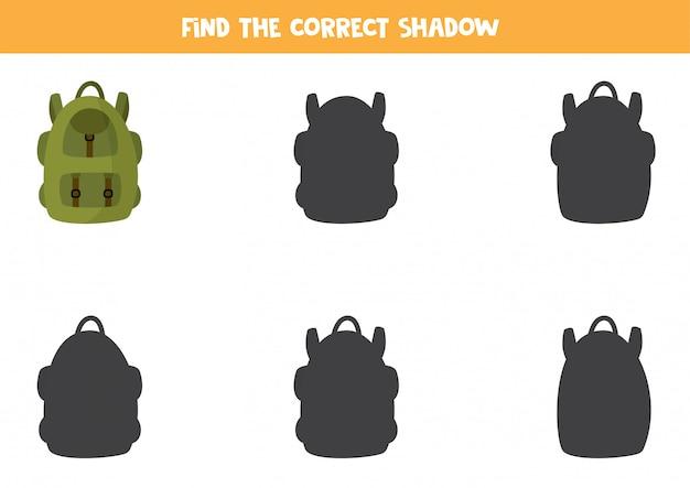 観光用リュックの正しい影を見つけてください。
