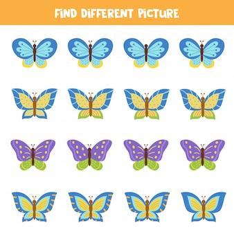 Найдите бабочку, которая отличается от других. логическая игра для детей.