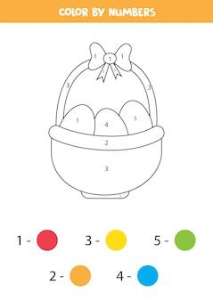 ストローバスケットとイースターエッグの着色のページ。