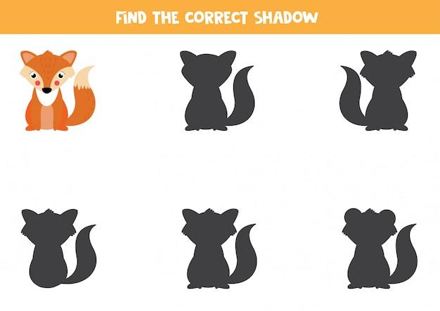 かわいい漫画のキツネの正しい影を見つけてください。子供のためのワークシート。