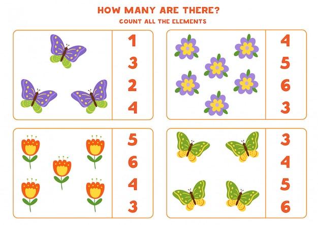 子供のためのゲームを数える。蝶と花の数を数えます。